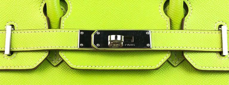 Hermes Birkin 30 Candy Collection Kiwi Lime Linchen Green Palladium Hardware  For Sale 2