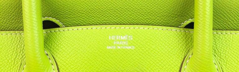 Hermes Birkin 30 Candy Collection Kiwi Lime Linchen Green Palladium Hardware  For Sale 3