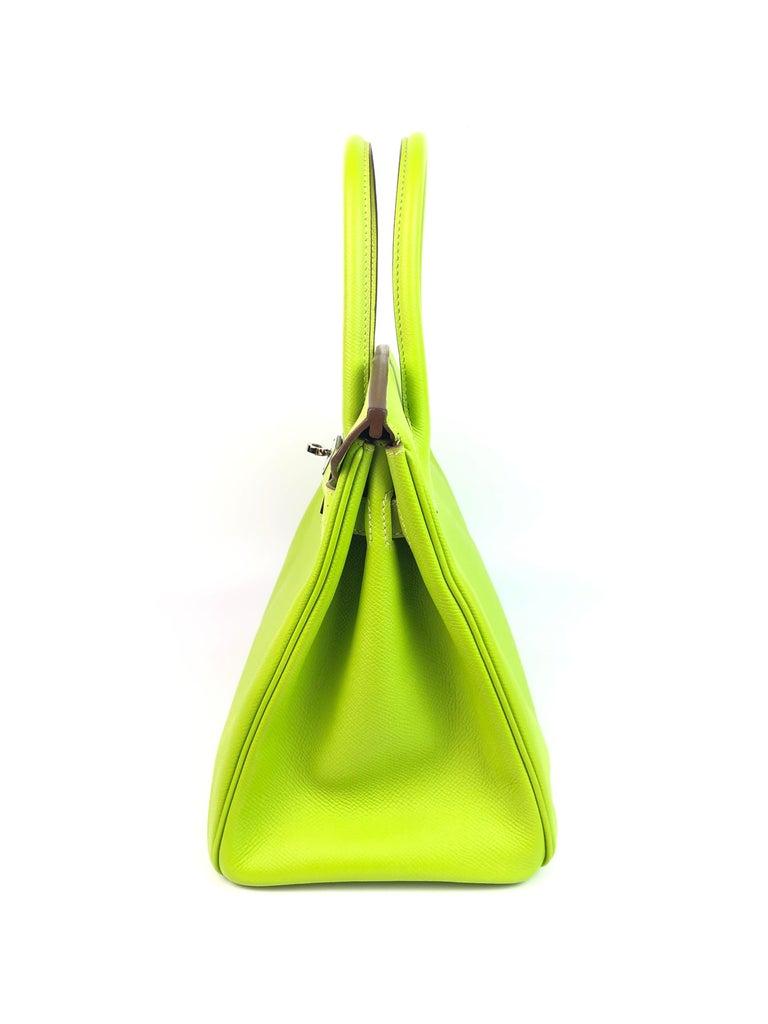 Hermes Birkin 30 Candy Collection Kiwi Lime Linchen Green Palladium Hardware  For Sale 5