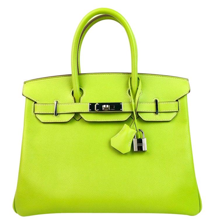 Hermes Birkin 30 Candy Collection Kiwi Lime Linchen Green Palladium Hardware  For Sale