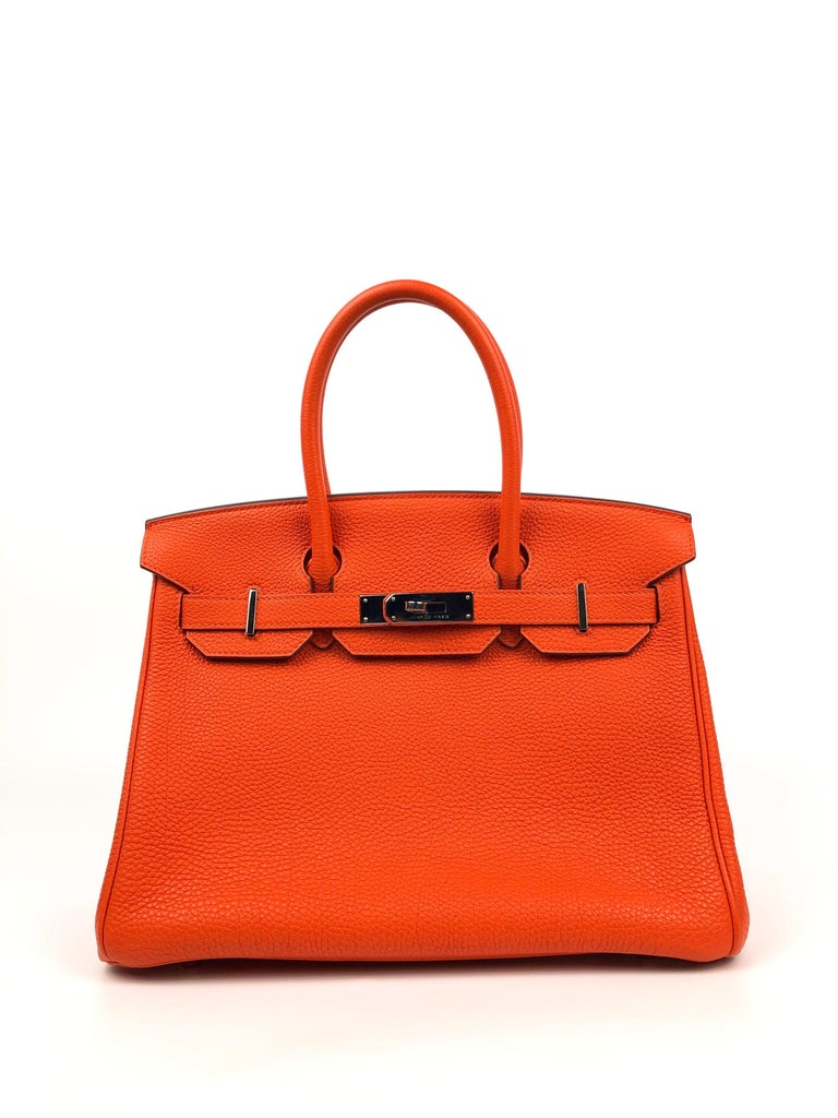 Hermes Birkin 30 Capucine Orange Red Togo Palladium Hardware. Excellent Condition, light hairlines on hardware and excellent structure and corners.  Shop with Confidence from Lux Addicts. Authenticity Guaranteed!