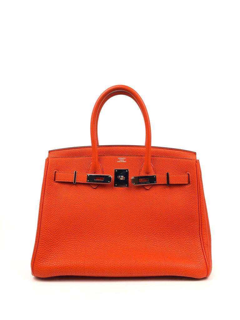 Hermes Birkin 30 Capucine Orange Red Togo Palladium Hardware  In Excellent Condition For Sale In Lancaster, CA