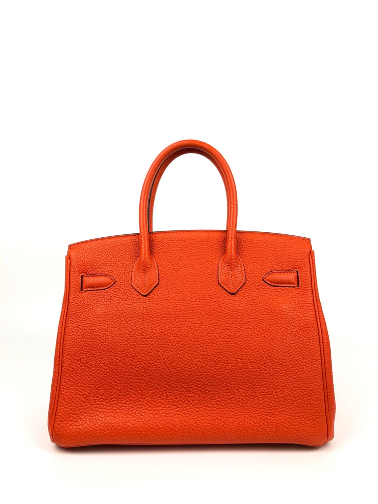 Women's or Men's Hermes Birkin 30 Capucine Orange Red Togo Palladium Hardware  For Sale