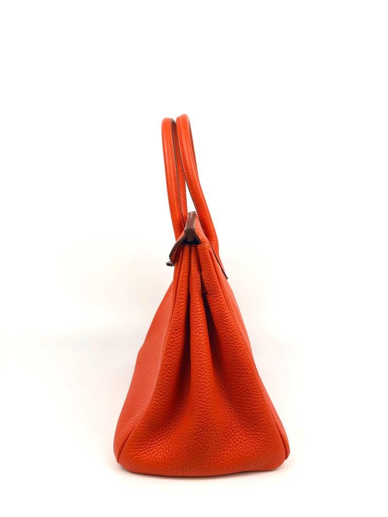 Hermes Birkin 30 Capucine Orange Red Togo Palladium Hardware  For Sale 1