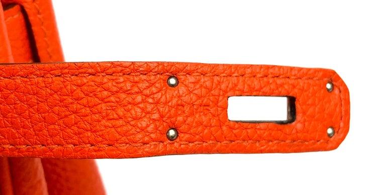 Hermes Birkin 30 Capucine Orange Red Togo Palladium Hardware  For Sale 2