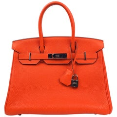 Hermes Birkin 30 Capucine Orange Red Togo Palladium Hardware