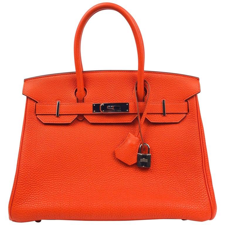 Hermes Birkin 30 Capucine Orange Red Togo Palladium Hardware  For Sale