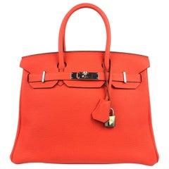 Hermes Birkin 30 Capucine Red Orange Togo Palladium Hardware