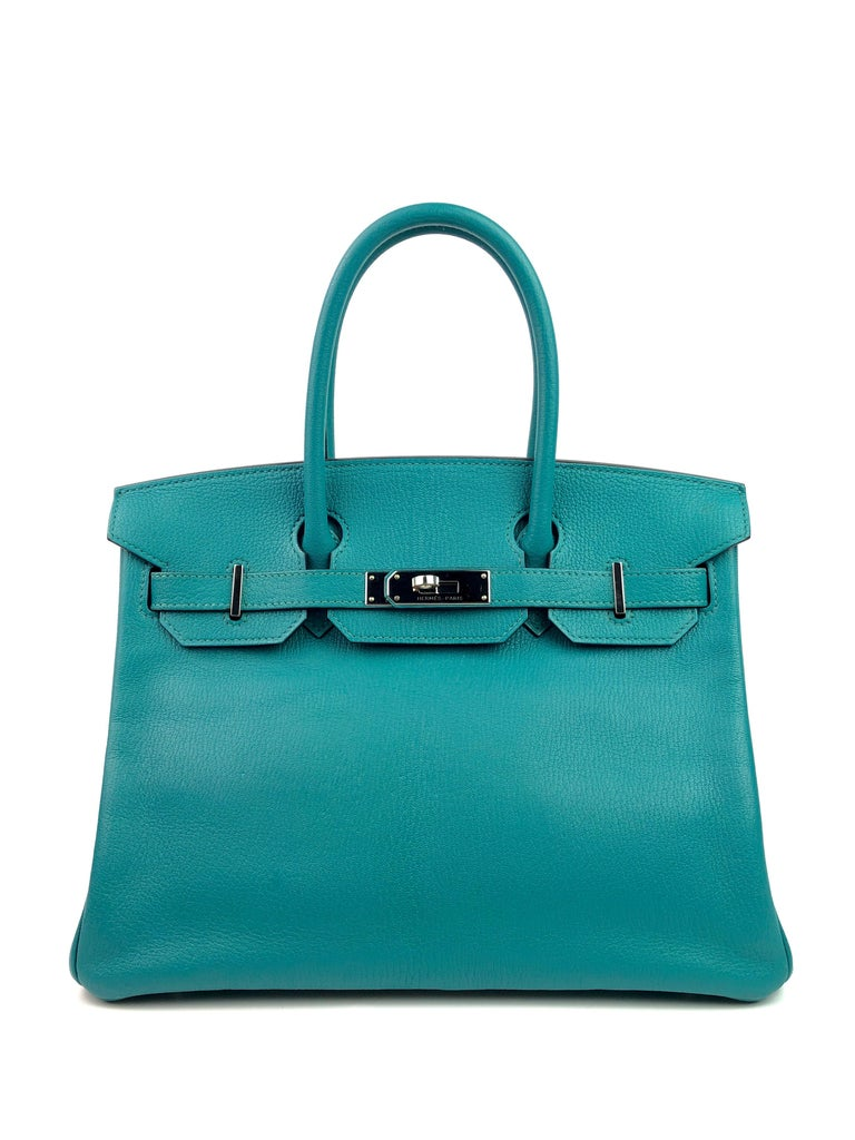 Hermes Birkin 30 Blue Paon Chèvre Mysore Palladium Hardware. X Stamp 2016.  Excellent Condition, Hairlines on hardware, excellent corners and structure.  Shop with Confidence from Lux Addicts. Authenticity Guaranteed!