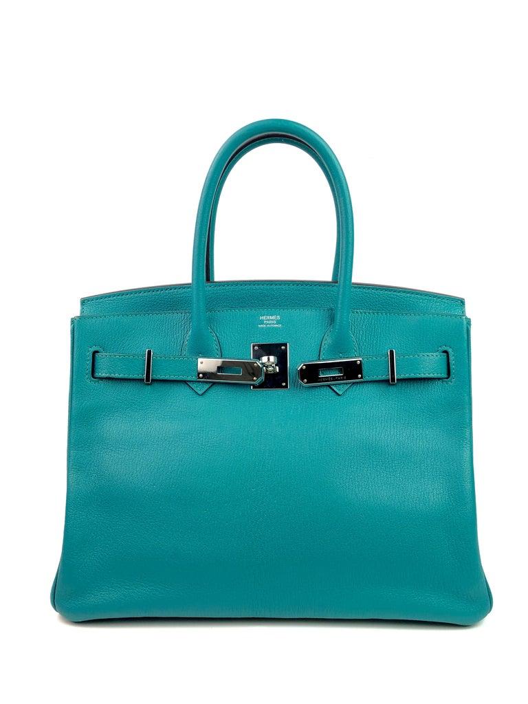 Hermes Birkin 30 Chèvre Mysore Blue Paon Palladium Hardware  In Excellent Condition For Sale In Miami, FL
