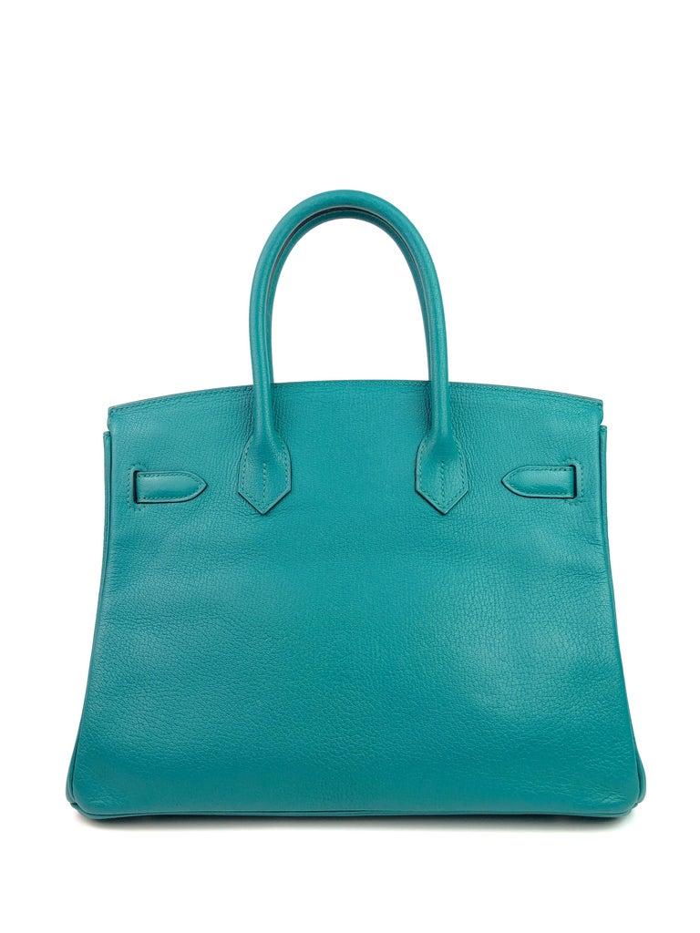 Women's or Men's Hermes Birkin 30 Chèvre Mysore Blue Paon Palladium Hardware  For Sale