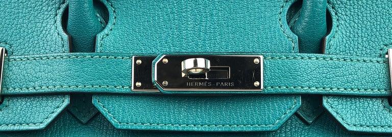 Hermes Birkin 30 Chèvre Mysore Blue Paon Palladium Hardware  For Sale 1