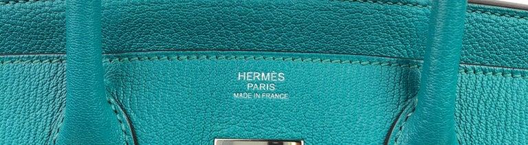 Hermes Birkin 30 Chèvre Mysore Blue Paon Palladium Hardware  For Sale 2