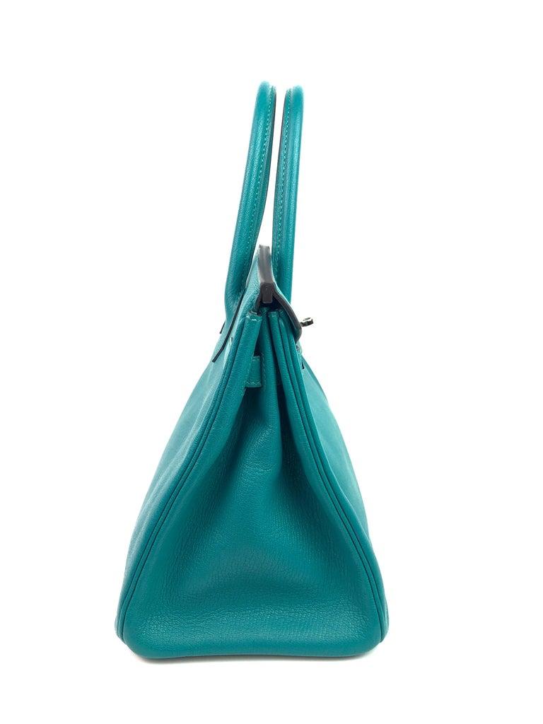 Hermes Birkin 30 Chèvre Mysore Blue Paon Palladium Hardware  For Sale 3