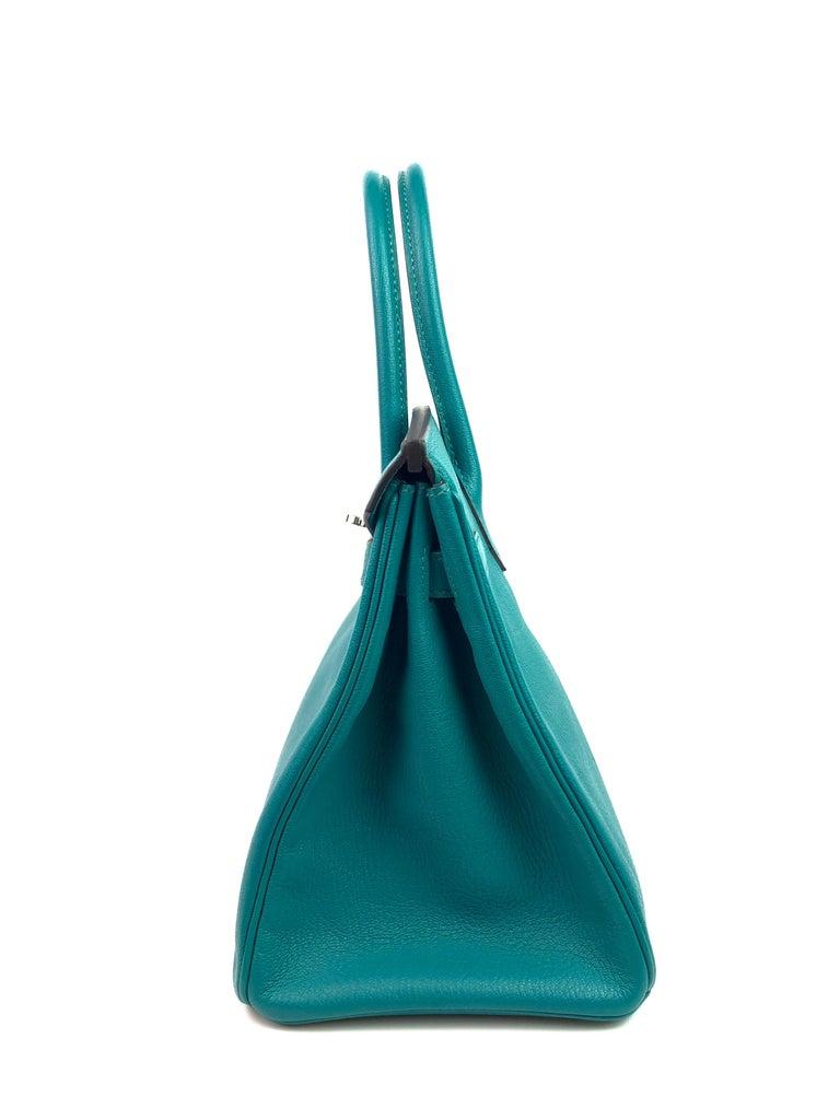 Hermes Birkin 30 Chèvre Mysore Blue Paon Palladium Hardware  For Sale 4