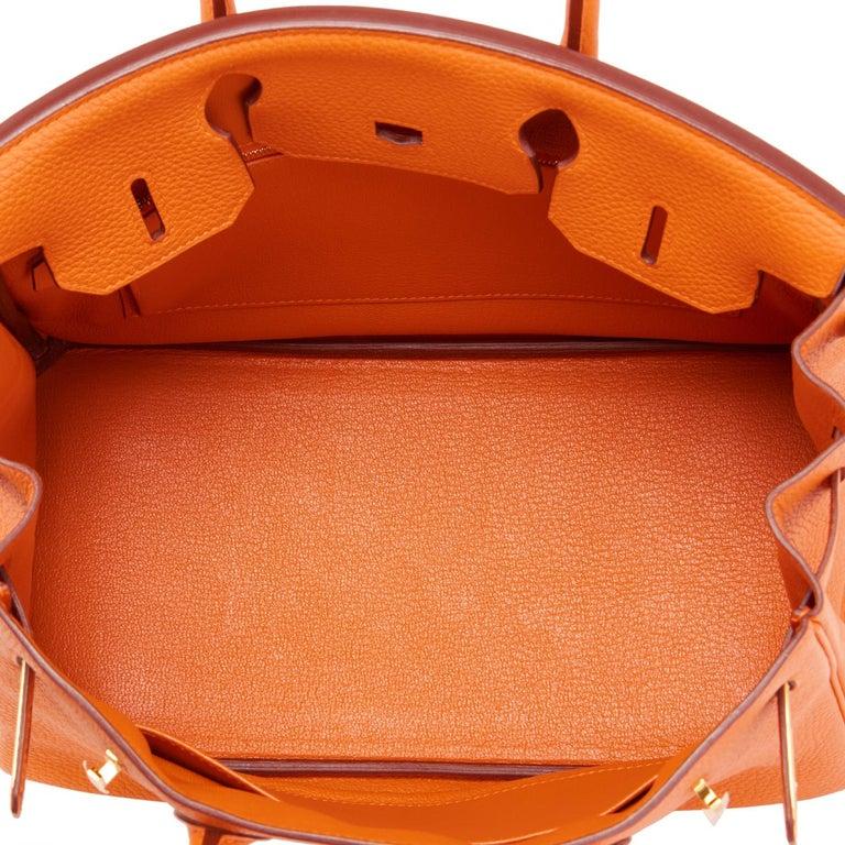 Hermes Birkin 30 Classic Hermes Orange Birkin Gold Hardware For Sale 6