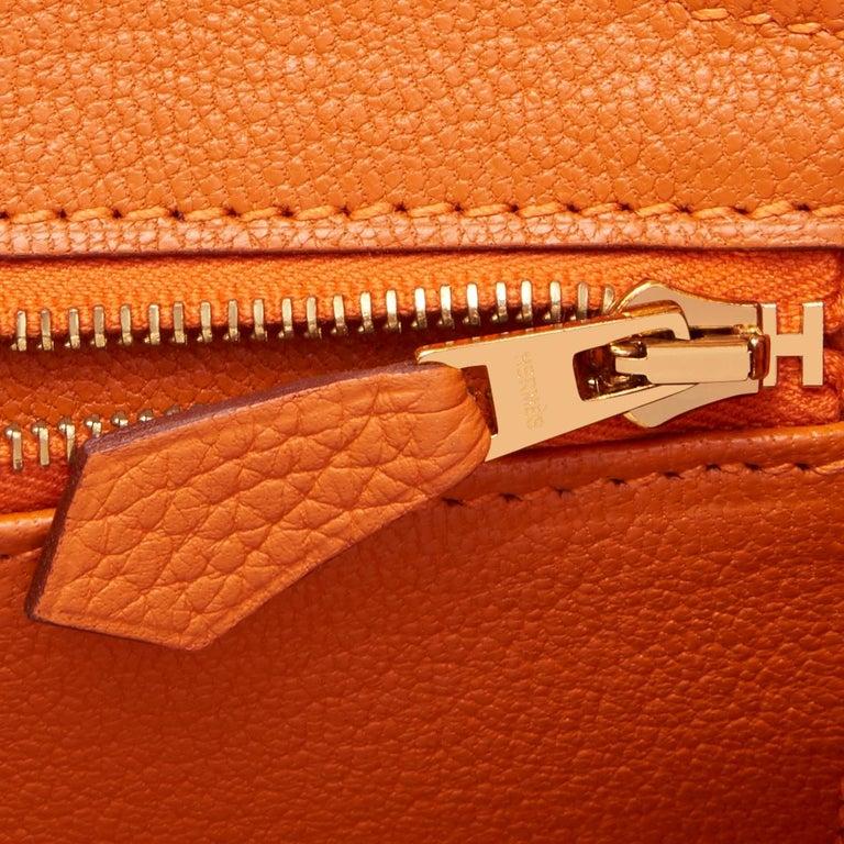 Hermes Birkin 30 Classic Hermes Orange Birkin Gold Hardware For Sale 7