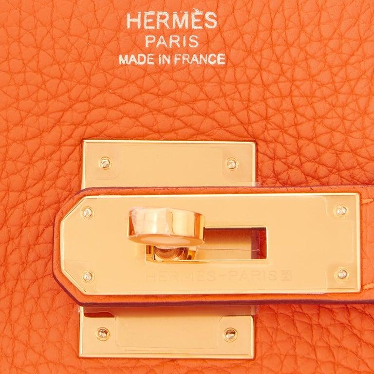 Hermes Birkin 30 Classic Hermes Orange Birkin Gold Hardware For Sale 8