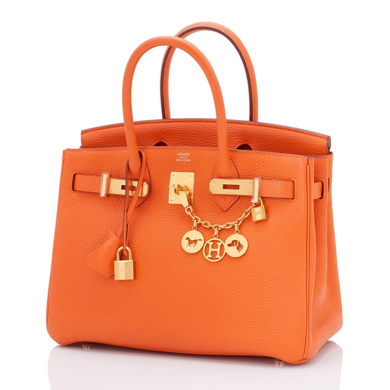 Hermes Birkin 30 Classic Hermes Orange Birkin Gold Hardware Ultra coveted and rare combination- long discontinued Hermes Classic Orange with Gold Hardware! Excellent Condition (with plastic on hardware). Comes with keys, lock, clochette, two