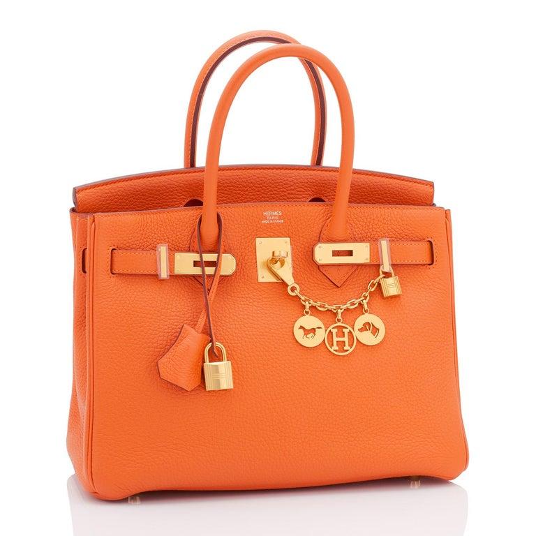 Women's Hermes Birkin 30 Classic Hermes Orange Birkin Gold Hardware For Sale