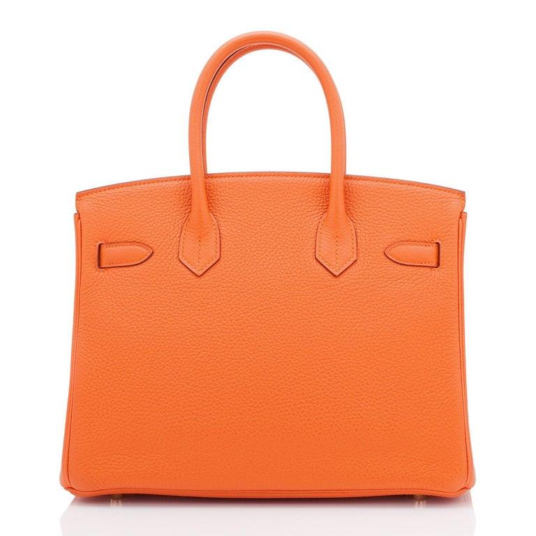 Hermes Birkin 30 Classic Hermes Orange Birkin Gold Hardware For Sale 3