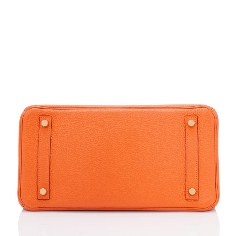 Hermes Birkin 30 Classic Hermes Orange Birkin Gold Hardware For Sale 5