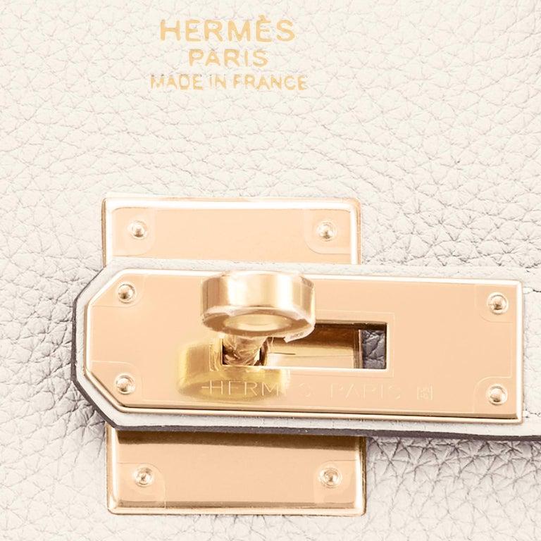 Hermes Birkin 30 Craie Rose Gold Hardware Togo Chalk Off White Bag Z Stamp, 2021 7