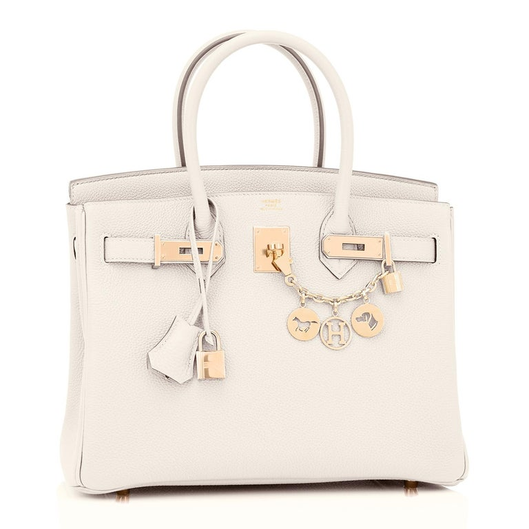 Hermes Craie 30cm Birkin Togo Rose Gold Hardware Chalk Off White NEW Just purchased from Hermes store; bag bears new interior 2021 Z Stamp. Brand New in Box. Store fresh. Pristine Condition (plastic on hardware.) Perfect gift! Comes in full set with