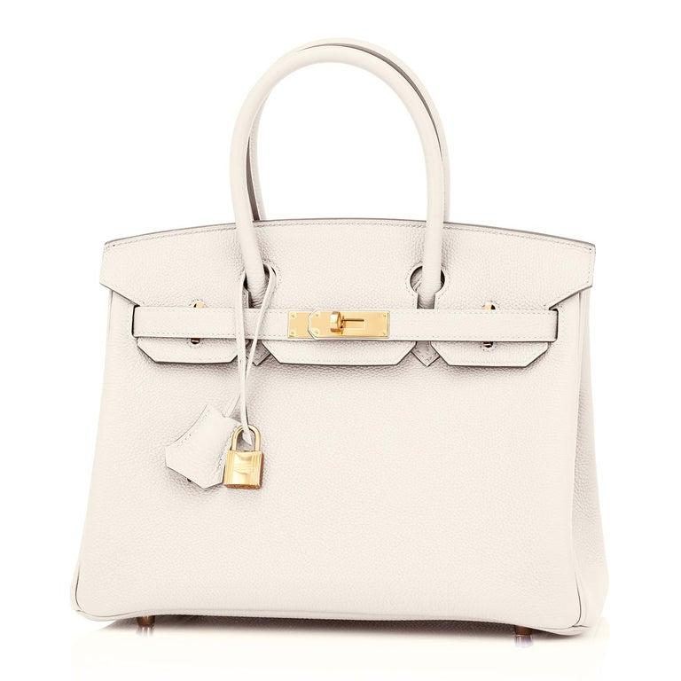 Women's Hermes Birkin 30 Craie Rose Gold Hardware Togo Chalk Off White Bag Z Stamp, 2021
