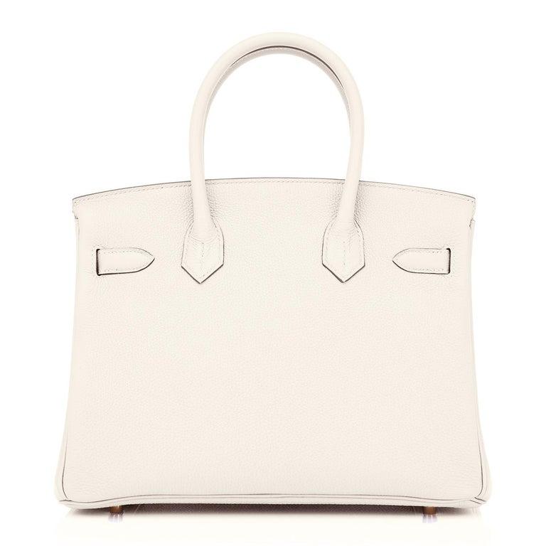 Hermes Birkin 30 Craie Rose Gold Hardware Togo Chalk Off White Bag Z Stamp, 2021 3