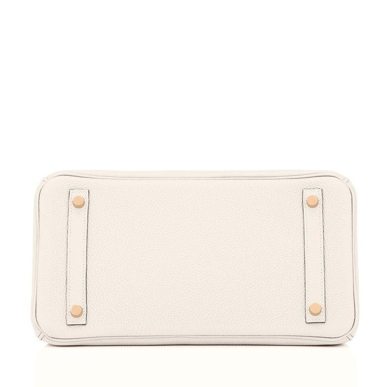 Hermes Birkin 30 Craie Rose Gold Hardware Togo Chalk Off White Bag Z Stamp, 2021 4