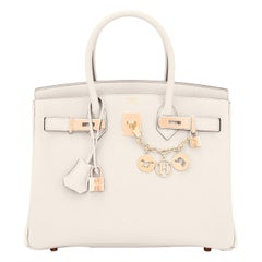 Hermes Birkin 30 Craie Rose Gold Hardware Togo Chalk Off White Bag Y Stamp, 2020