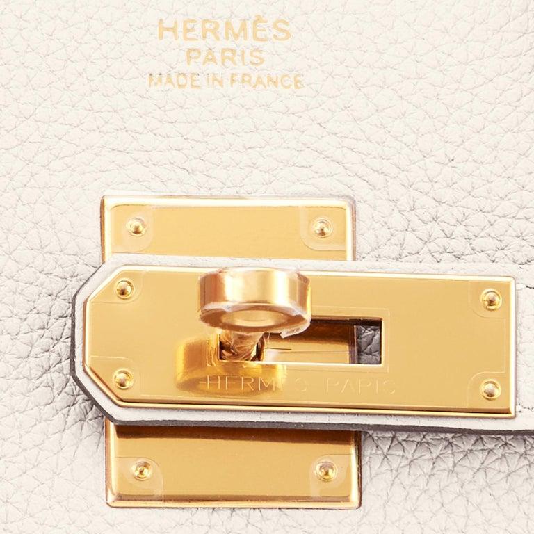 Hermes Birkin 30 Craie Togo Chalk Off White Gold Hardware Bag NEW For Sale 7