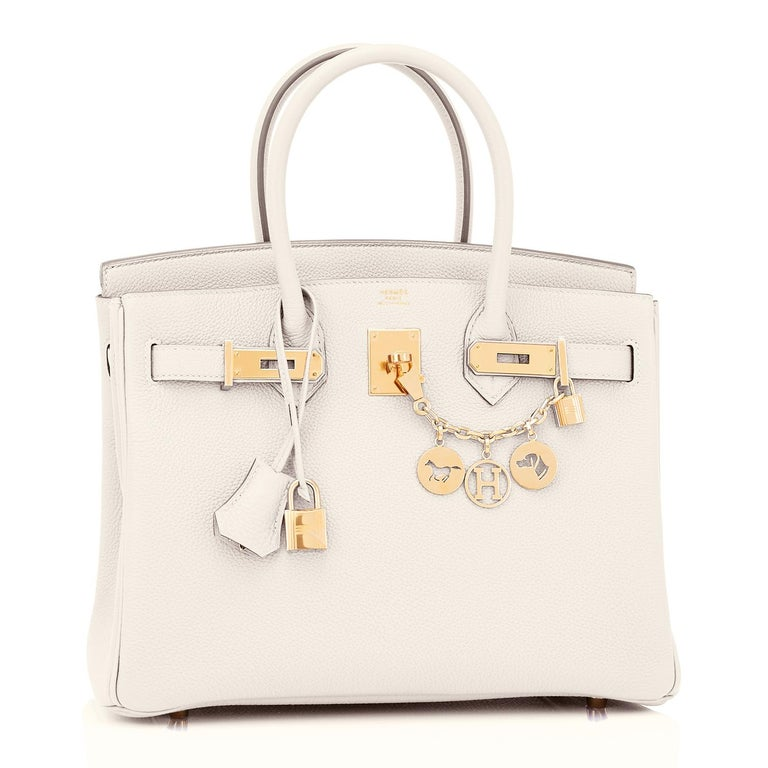 Hermes Birkin 30 Craie Togo Chalk Off White Gold Hardware Bag NEW New or Never Used. Pristine Condition (with plastic on hardware) Perfect gift! Comes in full set with lock, keys, clochette, sleeper, raincoat, and orange Hermes box. Pure neutral