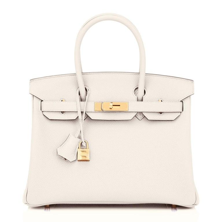 Beige Hermes Birkin 30 Craie Togo Chalk Off White Gold Hardware Bag NEW For Sale