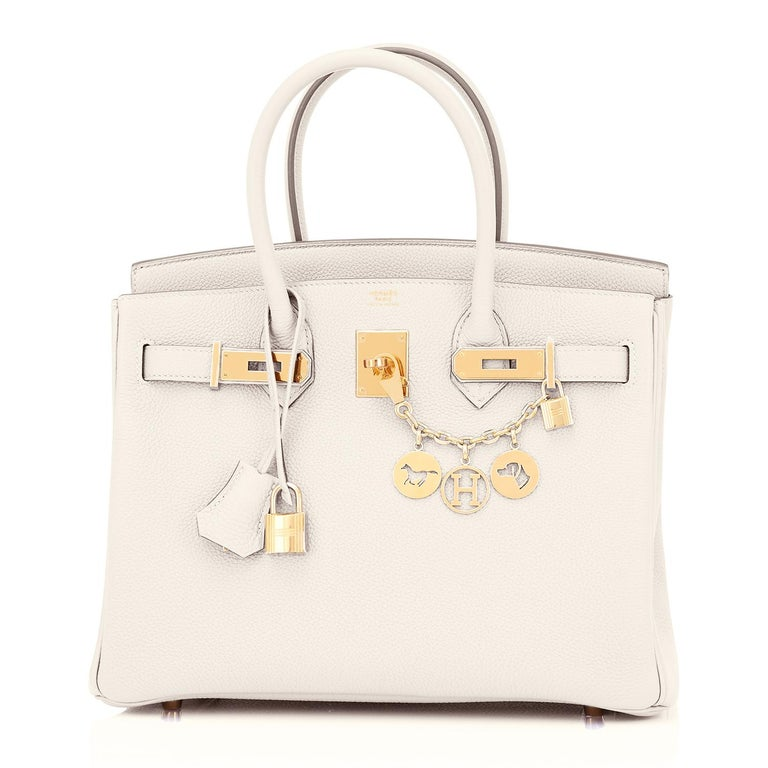 Hermes Birkin 30 Craie Togo Chalk Off White Gold Hardware Bag NEW In New Condition For Sale In New York, NY