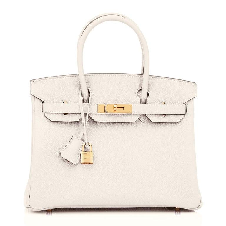 Hermes Birkin 30 Craie Togo Chalk Off White Gold Hardware Bag NEW For Sale 4