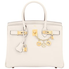 Hermes Birkin 30 Craie Togo Chalk Off White Gold Hardware Bag NEW