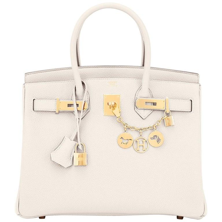 Hermes Birkin 30 Craie Togo Chalk Off White Gold Hardware Bag NEW For Sale