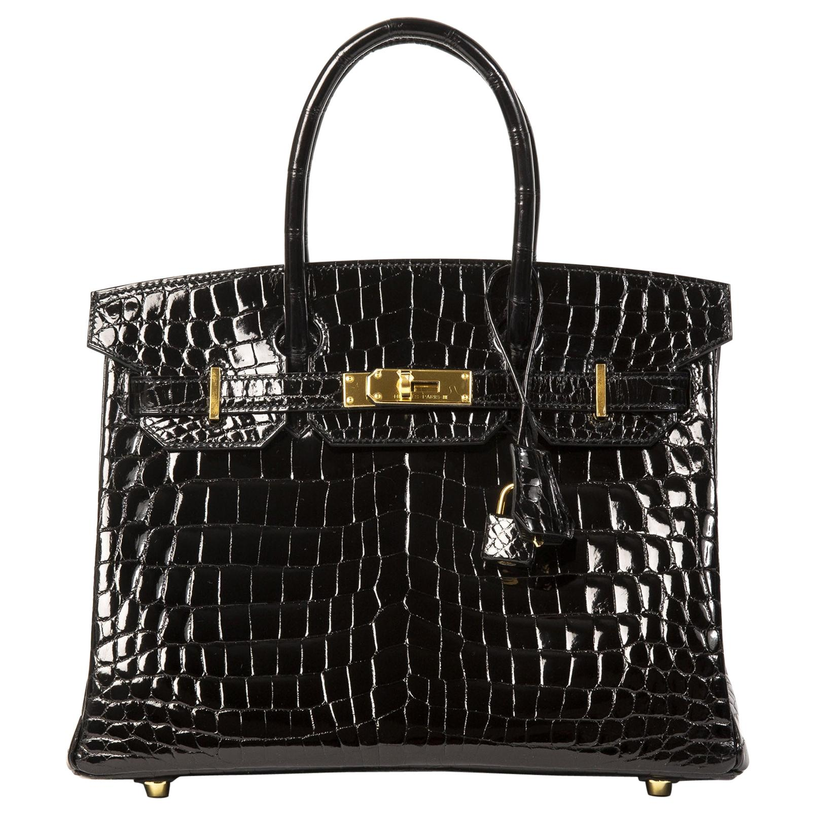 Hermès Birkin 30 Crocodile Niloticus Lisse Noir GHW