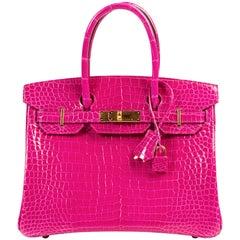 Hermès Birkin 30 Crocodile Porosus Lisse Rose Sheherazade GHW