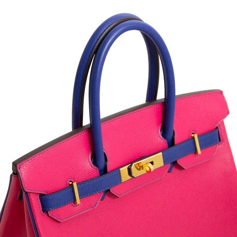 e26ed6c4fdc Red Hermès Birkin 30 Epsom HSS Horseshoe GHW Rose Tyrien   Bleu Electrique  GHW For Sale