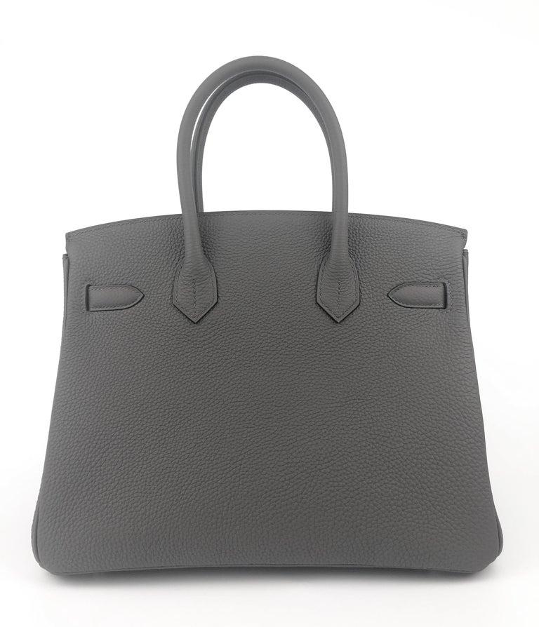 Women's or Men's Hermes Birkin 30 Etain Gray Grey Togo Palladium Hardware NEW