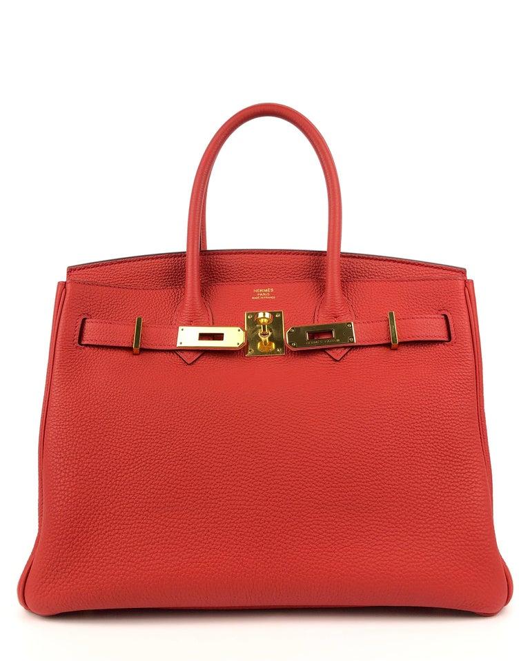 Hermes Birkin 30 Geranium Red Togo Gold Hardware In Excellent Condition In Miami, FL
