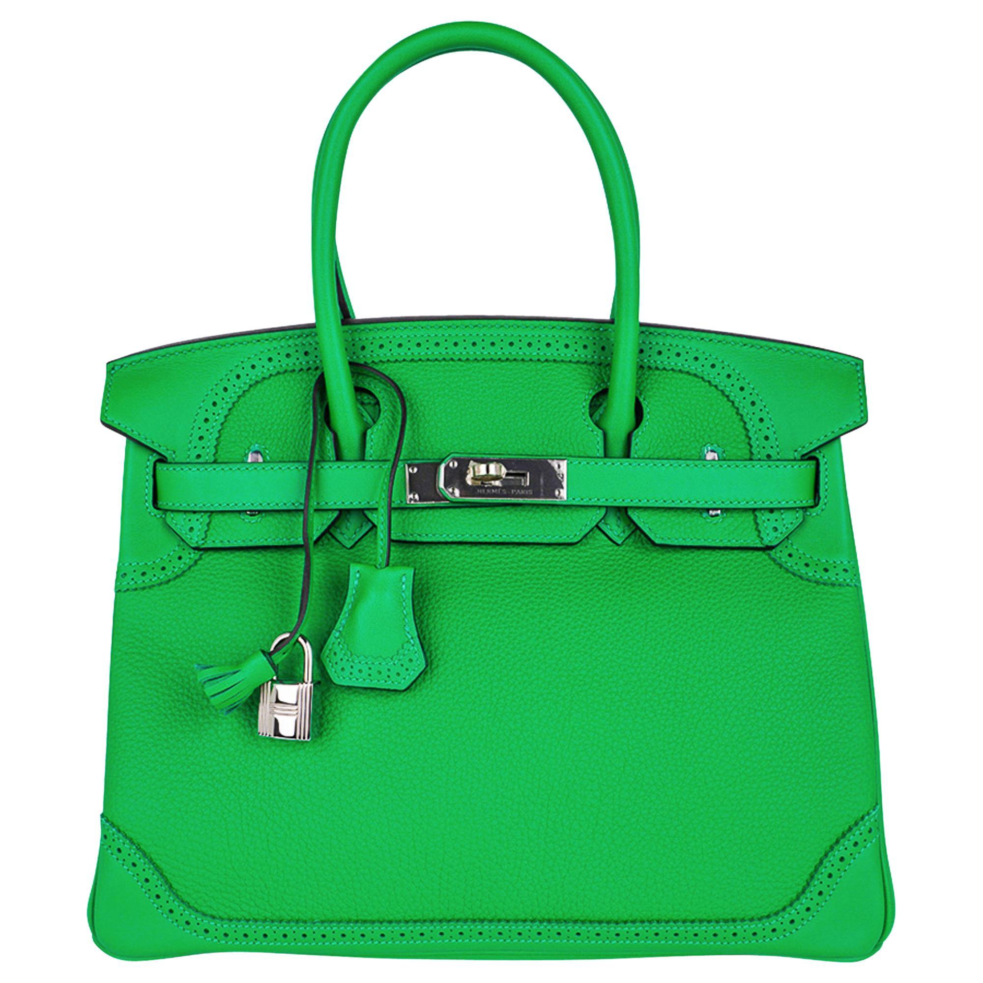 Hermes Birkin 30 Ghillies Limited Edition Bag Bamboo Palladium Hardware New w/Bo