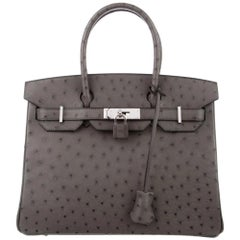 Hermes Birkin 30 Gray Ostrich Exotic Silver Top Handle Satchel Tote Bag