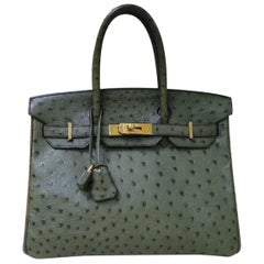 Hermes Birkin 30 Green Oistrich Leather  Bag