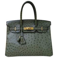 Hermes Birkin 30 Green Oistrich Leather  Bag
