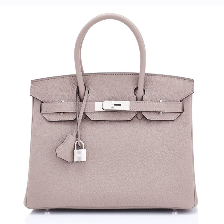 Gold Hermes Birkin 30 Gris Asphalte Dove Grey Togo Palladium Hardware Birkin Bag For Sale