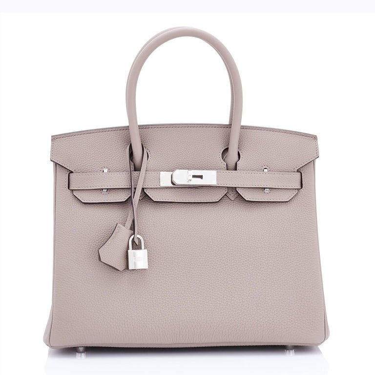 Women's or Men's Hermes Birkin 30 Gris Asphalte Dove Grey Togo Palladium Hardware Birkin Bag For Sale